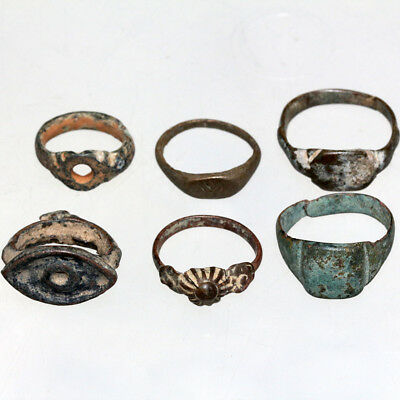 Stunning Lot Of 6 Ancient And Medieval Bronze Rings-Include One Iron