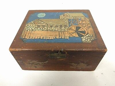 Vintage Antique Frank Buhl  5 Cent Kings Wood Dovetail Cigar Box Philadelphia PA