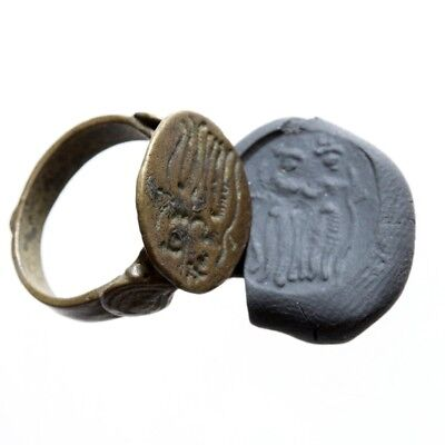 Perfect India Bronze Medieval Seal Ring Depicting 2 Goddess Circa 1200-1400 Ad