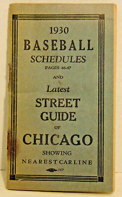1930 Baseball Schedules, Street Guide Chicago, Dr. L. W. Wright, Quackery-48 Pgs
