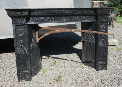 Ca 1835 Iron Fireplace Insert, Surround, Side Panels, Top - Ornate Architectural