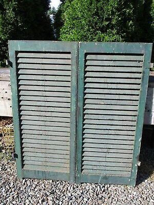 "Pair Old Victorian Wood Shutters, 42"" x 18 3/4"", Ca 1870 Historic Mansion"