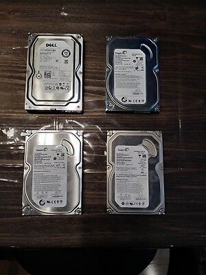 "Lot of (4) SATA 3.5"" Hard Drives Seagate/Western Digital/Dell"