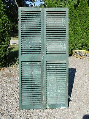 "Pair Old Victorian Wood Shutters, 73 5/8"" x 18"", Ca 1870 Historic Mansion"