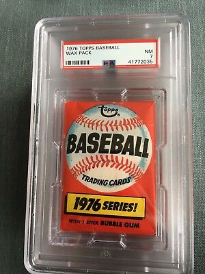 1976 Topps Baseball Unopened Wax Pack Locker Back PSA 7 Near Mint *35