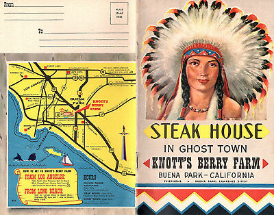 Knotts Berry Farm Steak House Ghost Town 1960's Brochure Menu Theme Park Calif