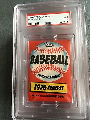 1976 Topps Baseball Unopened Wax Pack Pennant Back PSA 7 Near Mint *44