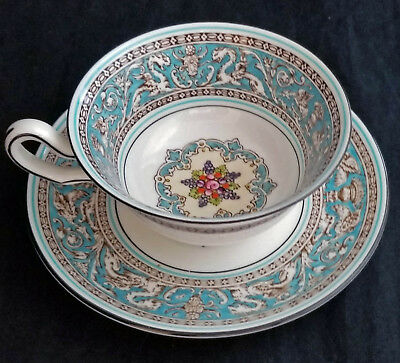 """1 Vintage Wedgwood """"Florentine"""" Turquoise Coffee Cup & Saucer Set, Excellent"""