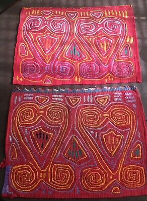 Vintage Mola Kuna Indian San Blas Islands  Double Panel Hand-Stitched.