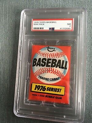 1976 Topps Baseball Unopened Wax Pack Sports Club Back PSA 7 Near Mint *80
