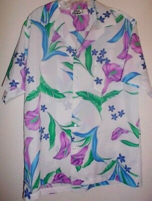 Hilo Hattie's Hawaiian Men's Size Large Floral White Blue Button Down Shirt