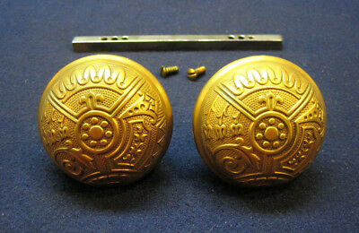 Pair Antique Corbin Ceylon Decorative Bronze Aesthetic Eastlake Door Knobs