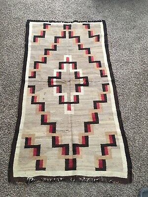 "NAVAJO RUG NATIVE AMERICAN TEXTILE 67"" X 36"" CIRCA 1930 As Found Repair Cabin"