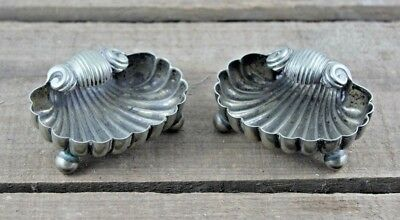 Antique Victorian Pair of Unusual Shell Shaped Silver Plate Salts, Pots 19th Cen