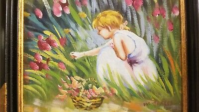 Beautiful classic Girl Picking Flowers framed original painting signed M Hodges