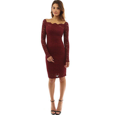 Women Solid Color Lace Party Wear Off Shoulder Long Sleeve Slim Hollow Out Dress
