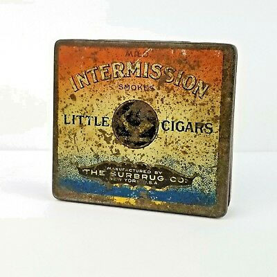 Intermission Little Cigars Tin Manufactured by The Surbrug Co. New York USA