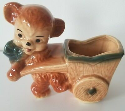 Vintage Royal Copley Bear with Wagon Wheelbarrow Pottery Planter Brown Bear Cute