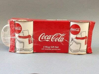 COCA-COLA 2 Mug Gift Set Polar Bears **Granola Bars NOT INCLUDED**