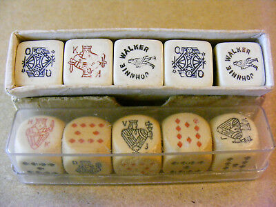 Two Vintage Boxed Poker Dice Sets, Timber Dice & Johnnie Walker Advertising Dice