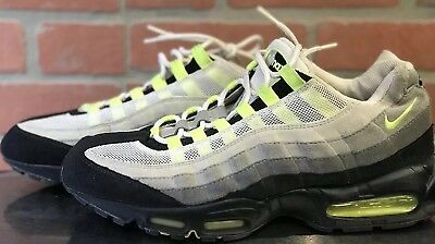 Details about Nike Air Max 95 Cool Grey Neon Volt Yellow Black Mens Size 10 609048 072