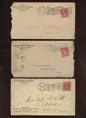 6 Nice Chicago Flag Cancels~Stamped Covers~1897, 1898 & 1899