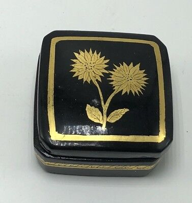 Vintage Wooden Black Lacquer Flowers Jewelry Trinket Box