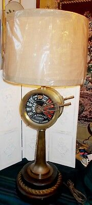 """Rare J.W.Ray and Co. Antique Brass Ship's Telegraph (Liverpool) 42"""" Tall Lamp"""