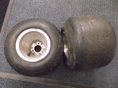 go kart classic/historic 100cc  pair of  rear ali 210mm rims/wheels and tyres