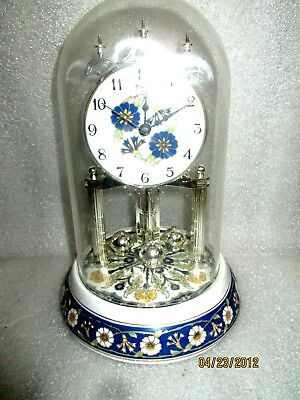 Vintage Porcelain Glass Dome Anniversary Clock... Floral Design W/CHIMES