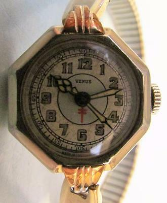 """ANT. (1930's) """"VENUS"""" SWISS WIND-UP WATCH W/ GOLD-PLATED CASE & STRAP"""