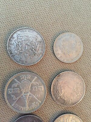 Lot Of 6 Coins Thailand Rama silver Baht Elephants