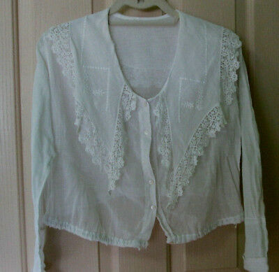 Antique Edwardian Women's White Shirt Wide Collar Lace Embroidery Whitework 1910