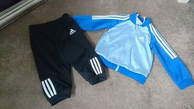 ADIDAS boys blue tracksuit jacket & trousers outfit set 6-9 mths