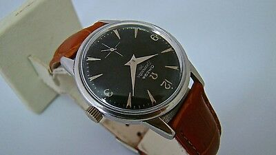 Vintage 1963 Omega Seamaster 30 Watch, Black Gloss Dial, New Strap, cal:268