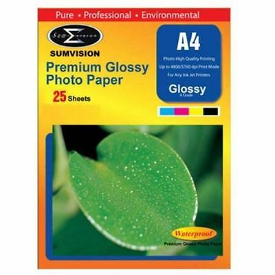 Sumvision A4 Premium Inkjet Printer Photo Glossy Paper 260Gsm 25 Sheets Pack