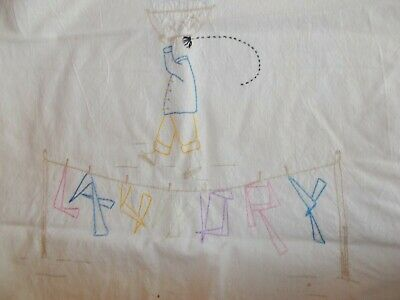 Antique Muslin Laundry Drawstring Bag w/embroidery
