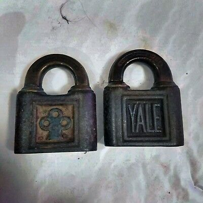 TWO Antique Yale & Towne Mfg Steel & Brass Padlocks Trefoil design, No Keys L5