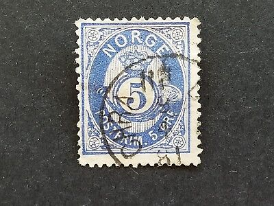 Norway, Norge 1877 5 ore Posthorn used