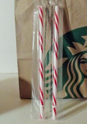 Starbucks STRAW Red White CANDY CANE Lot 2 for Reusable Venti Cold Cup 2018 Xmas