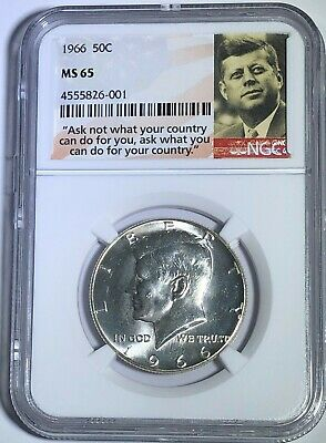1966 Ngc Ms65 Silver Kennedy Half Dollar Jfk Coin Ask Not Label 40%