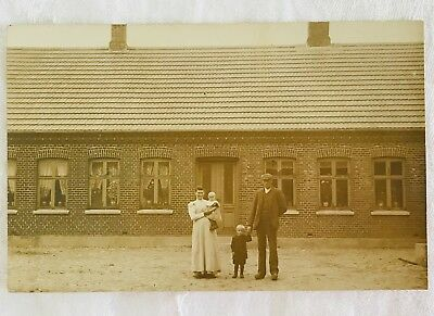 Antique Unused RPPC Real Photo Postcard of Danish Family and House - Denmark