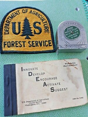 LOT OF VINTAGE US FOREST SERVICE MEMORABILIA - PATCH, LOG RULE, NOTEPAD - 1950s
