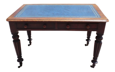 Antique Victorian English Mahogany Partners Desk Blue Leather Top