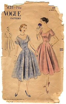 """Vintage 1950s Vogue Sewing Pattern Women's PARTY DRESS 7431 Size 12 Bust 30"""""""