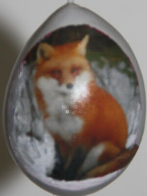 gourd Easter egg, garden or Christmas ornament with fox