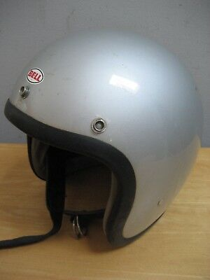 Silver Bell Super Magnum Open Face Motorcycle Helmet Size 7 1/4 S/m 1970 Snell