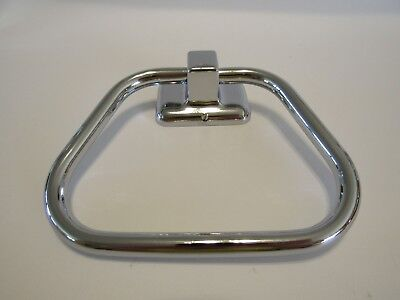 "Vintage NOS CHROME 5"" Metal Towel D-Ring Holder Rack Stirrup Classica Miami Cary"