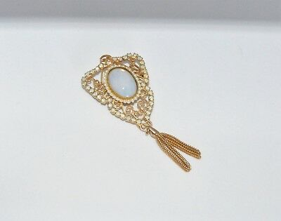 """Vintage Gold Tone Brooch w/Faux Opal & Rhinestones 3"""" Long  Excellent Condition"""