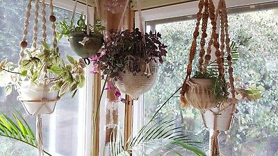 Mid Century Vintage Hand Thrown Pottery Cache Pot/Macrame Hanging Planter
